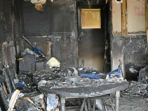 CHARRED: The garage was gutted by Saturday night's fire.