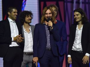 Tame Impala accept the ARIA for Best Group during the 29th ARIA Awards, at The Star, in Sydney.