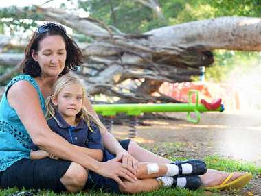 A Gympie mother and her young daughters escaped terrible injury and likely death by millimetres on Thursday afternoon when a massive fig tree fell on the playground at Nelson Reserve. Luckily there were no other children in the playground at the time.