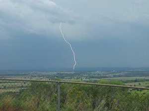 Lightning strikes the South Burnett near Kingaroy. Photo taken from the Murgon Tablelands.