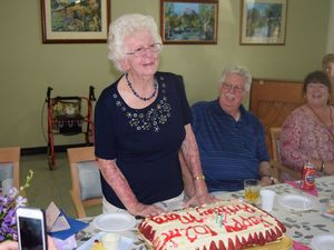 Marge Ward at her 102nd birthday party at Wahroonga Retirement Village. Photo Andrew Thorpe / Central Telegraph