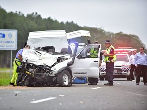 Multiple vehicle fatal crash on the Bruce Highway 3 kilometers south of the Caloundra turnoff. The ute that crossed into oncoming traffic.