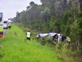 <strong>UPDATE 7.10PM:</strong> Cars and debris were launched through the air in a five-vehicle crash that claimed a 69-year-old man's life on the Bruce Hwy at Bells Ck.