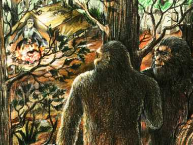 LURKING: These two yowies react to a noise in the undergrowth, perhaps made by Yowie researcher Dean Harrison. Illustration by Bill Rasmussen