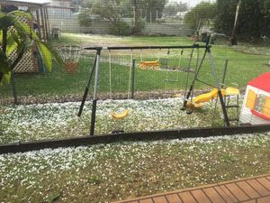 Tanya Weber's photo of hail in Oakey. Photo Contributed