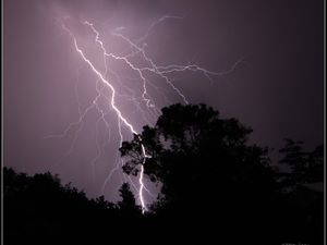 THUNDER STUCK: A photo taken by Stanthorpe resident Gail Paulsen during a severe lightning storm on Thursday night which caused a black-out around the region.