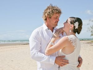 Rick and Suzie Wood married on September 13 at Canoe Point. Suzie said they had always wanted a small wedding and they both love the beach. And while it was a perfect moment, not everything went according to plan. Credit: Kaptured by Kellie Shepherd