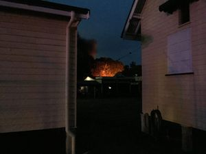 IN FLAMES: Fire fighters are battling a blaze at the Hervey Bay Historical Village and Museum.