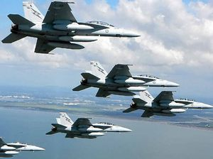 The F/A-18F Super Hornets will thrill crowds when they fly past the Sunshine Coast this afternoon.