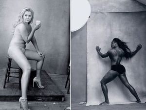 Comedian Amy Schumer and tennis legend Serena Williams in the annual Pirelli calendar, which has this year moved away from its traditional supermodel subjects, to women who are achievers.