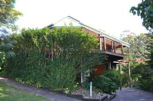 In tune with the adjoining nature reserve, this 3 bedroom elevated Western red cedar home radiates a quiet and relaxing ambience. Admire views of the bush and district from the sunny north facing wrap around verandah. Entertaining your family and friends is easy with access to the verandah off the ...