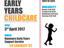 <p>New Childcare</p><p>Open from the 3rd of April 2017</p><p>Caters for children aged 3 to school age.</p>