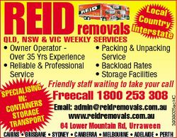 Local Country Interstate   Qld, NSW& Vic Weekly Specials    Owner Operatetor...