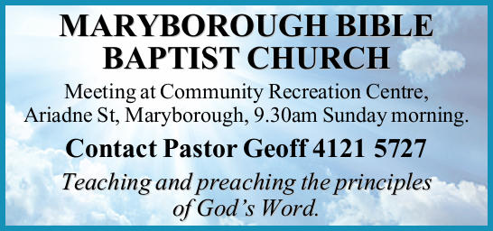 Meeting at Community Recreation Centre, Ariadne St, Maryborough, 9.30am Sunday morning.