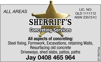 All aspects of Concreting :   Steel fixing, Foamwork, Excavations, retaining walls, Resurfaci...