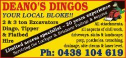 DEANO'S DINGOS   YOUR LOCAL BLOKE!!   2 & 3 ton Excavator,k Dingo, TIpper & F...