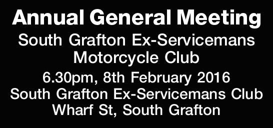 6.30pm, 8th February 2016   South Grafton Ex-Servicemans Club Wharf St, South Grafton