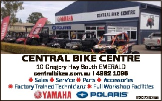 CENTRAL BIKE CENTRE 10 Gregory Hwy South EMERALD centralbikes.com.au I 4982 1096 Sales Service Pa...