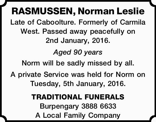 RASMUSSEN, Norman Leslie