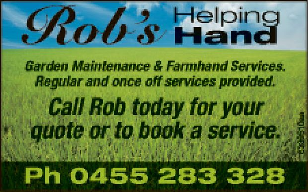 Garden Maintenance & Farmhand Services.
