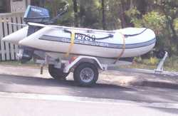 INFLATABLE BOAT Quicksilver 20hrs, 6hp motor, 11 mths rego, on trailer, 6mths rego. $2,500 Phone...