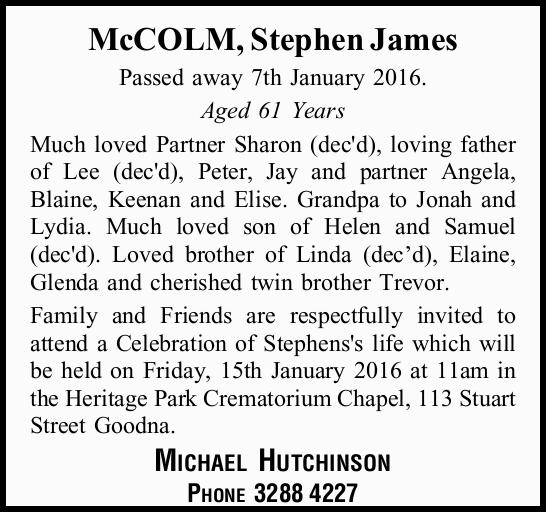 Passed away 7th January 2016.