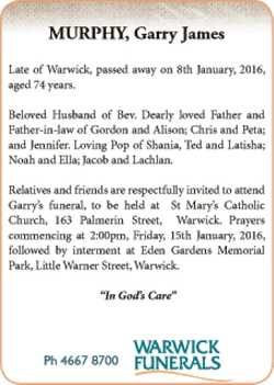 Late of Warwick, passed away on 8th January, 2016, aged 74 years.   Beloved Husband of...