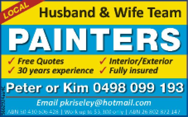 Local Husband & Wife Team     Interior/Exterior  Free Quotes  30 years exper...