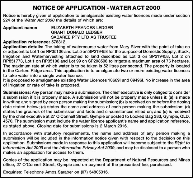 Notice is hereby given of application to amalgamate existing water licences made under section 22...