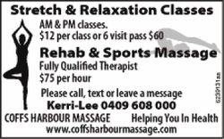 Stretch & Relaxation Classes    AM & PM classes.  $12 per class or 6 visit pa...