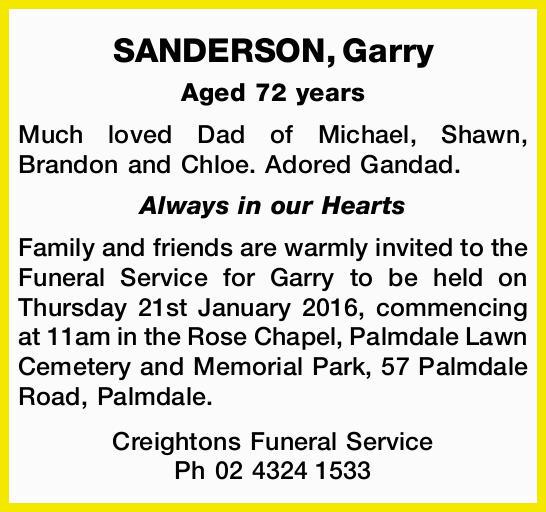 Aged 72 years Much loved Dad of Michael, Shawn, Brandon and Chloe. Adored Gandad. Always in...