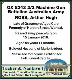 QX 8343 2/2 Machine Gun Battalion Australian Army   ROSS, Arthur Hugh   Late of Gracemere...