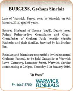 Late of Warwick. Passed away at Warwick on 9th January, 2016, aged 91 years.   Beloved Husban...