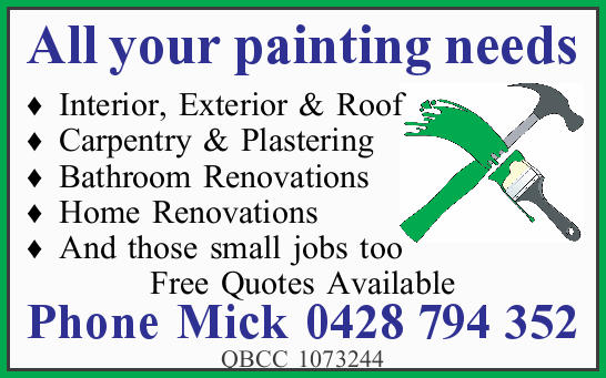 All your painting needs     Interior Exterior & Roof  Carpentry & Plastering...