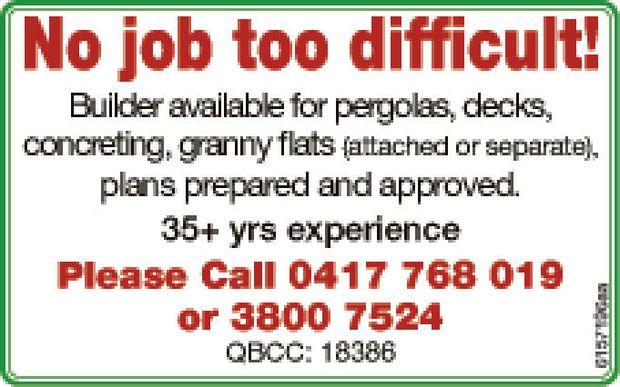 Builder available for     pergolas  decks  concreting  granny flats (...