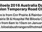 Biloela 2016 Australia Day Triathlon Temporary Road Closure Closure