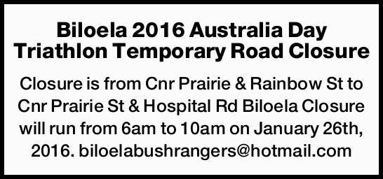 is from Cnr Prairie & Rainbow St to Cnr Prairie St & Hospital Rd Biloela Closure wi...