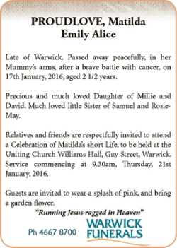 Late of Warwick. Passed away peacefully, in her Mummy's arms, after a brave battle with can...