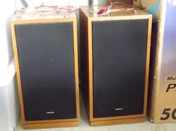 Two Sound  Amplifiers, mid brown frame,44cm D, 34W, 66H$20 the pair