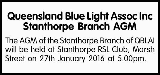 The AGM of the Stanthorpe Branch of QBLAI   will be held at Stanthorpe RSL Club, Marsh Street...