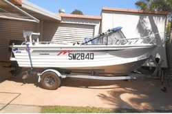Quintrex Lazeabout 4.89, 70hp Evinrude, sounder, bimini, all in GC, $11,200 Ph 0427 335 327