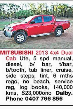 MITSUBISHI 2013 4x4 Dual Cab Ute, 5 spd manual, diesel, b/bar, t/bar, b/tooth, tub liner, cruise,...