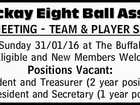 Mackay Eight Ball Assoc. AGM MEETING - TEAM & PLAYER SIGN ON