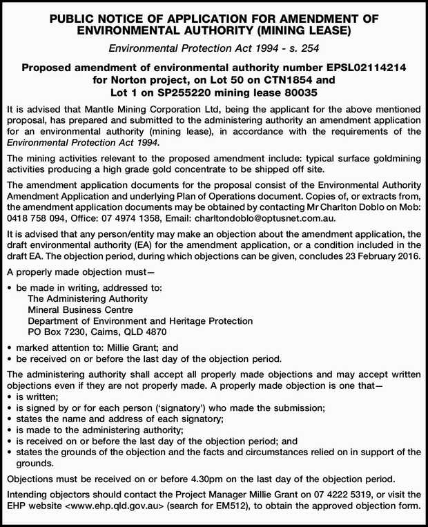 PUBLIC NOTICE OF APPLICATION FOR AMENDMENT OF ENVIRONMENTAL AUTHORITY (MINING LEASE) Environmenta...