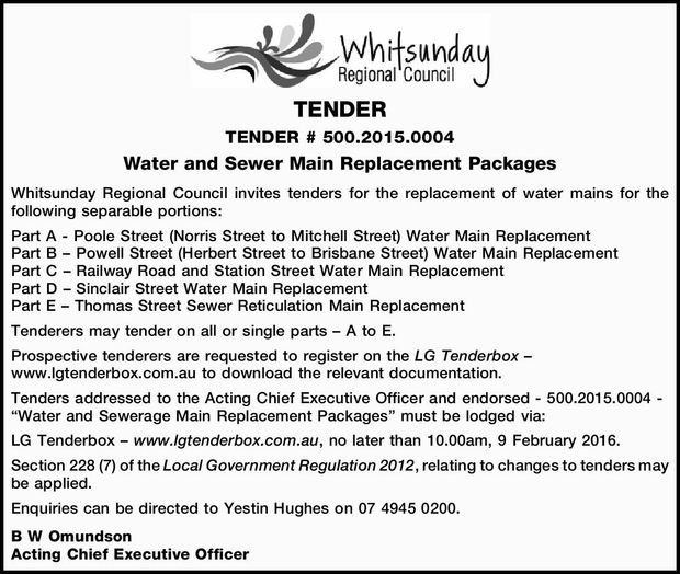 TENDER TENDER # 500.2015.0004 Water and Sewer Main Replacement Packages Whitsunday Regional Counc...