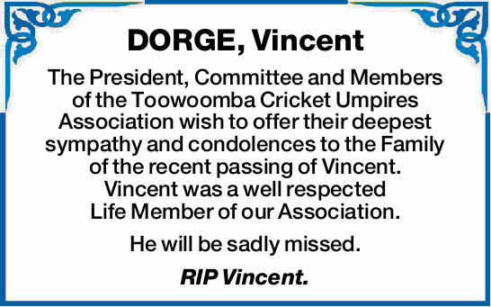 The President, Committee and Members of the Toowoomba Cricket Umpires Association wish to offer t...