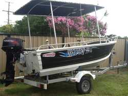 With all rego, low hrs on 30hp Tohatsu, elec. start and trim/tilt, fully carpeted with front & rear...