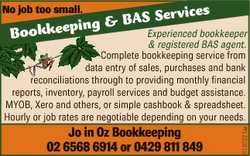 No job too small. ing & Bookkeep ices BAS Serv Jo in Oz Bookkeeping 02 6568 6914 or 0429 811 849...
