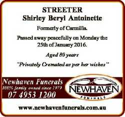 STREETER Shirley Beryl Antoinette Formerly of Carmilla. Passed away peacefully on Monday the 25th of...
