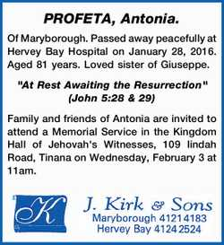 PROFETA, Antonia.